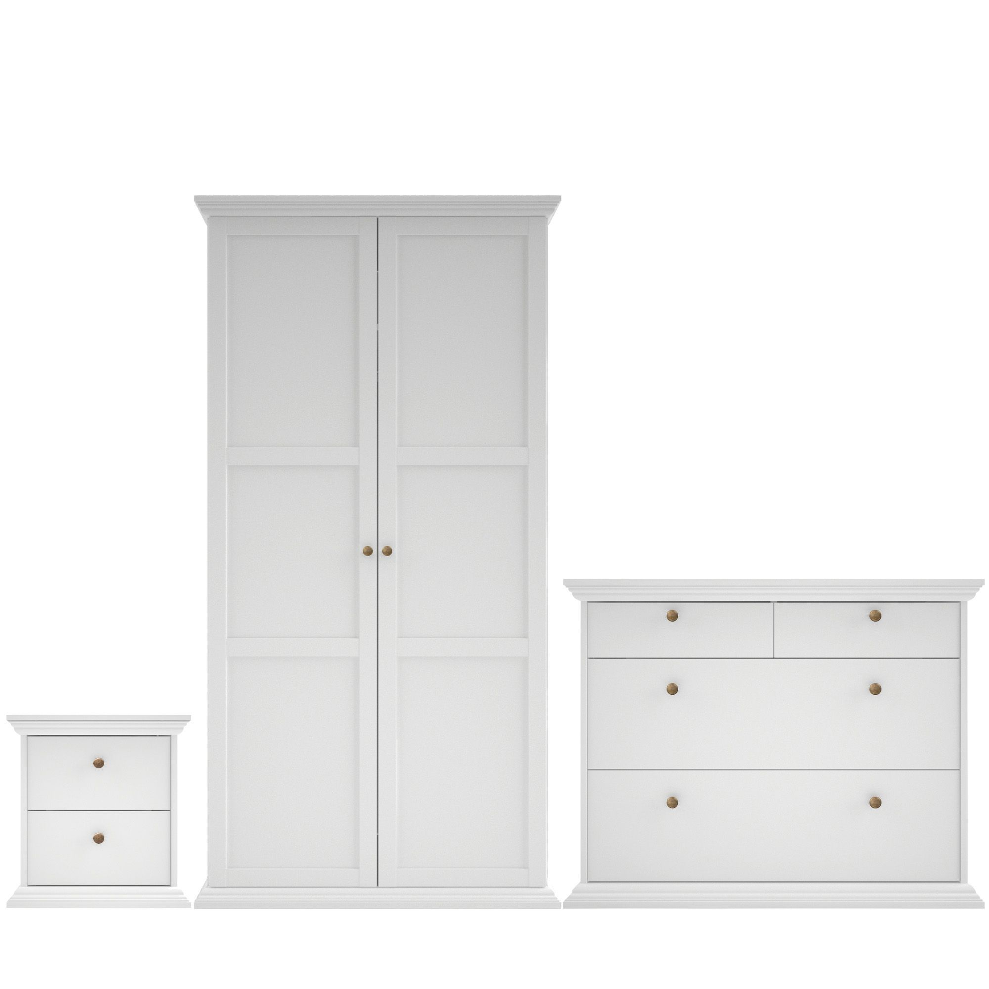 Isabella white matt 3 piece bedroom furniture set for B q bedroom furniture sets