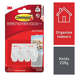 3M Command White Plastic Hooks, Pack of 3