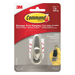 3M Command Brushed nickel Metal Hook