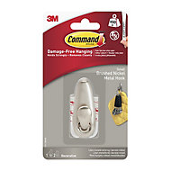 3M Brushed nickel Metal Hook