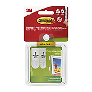 3M Command White Foam Picture hanging strips, Pack of 12