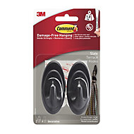 3M Command Grey Slate effect Plastic Hooks, Pack of 2