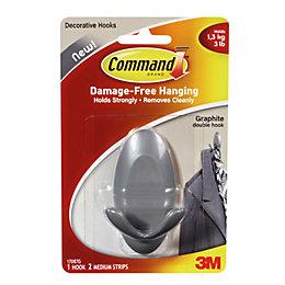 3M Command Grey Graphite Effect Plastic Double Hook