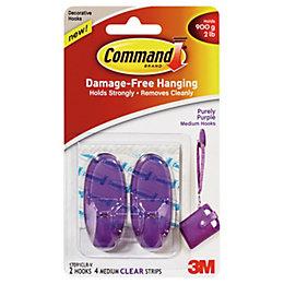 3M Command Purple Plastic Hooks, Pack of 2