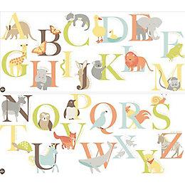 Fun4Walls Alphabet Zoo Multicolour Self Adhesive Wall Sticker