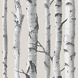 Wallpops Birch Tree Grey Peel & Stick Wallpaper