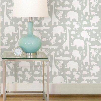 Wallpops It S A Jungle In Here Grey L Stick Wallpaper 5500mm W 520mm Departments Diy At B Q