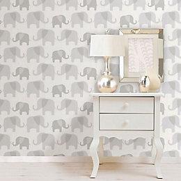 Wallpops Elephant Parade Grey Peel & Stick Wallpaper