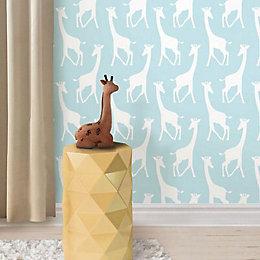 Wallpops Giraffes Blue Peel & Stick Wallpaper (L)5500mm