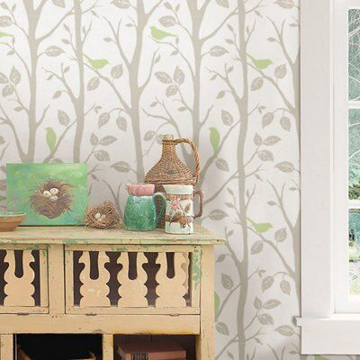 Wallpops Sitting In A Tree Grey Green L Stick Wallpaper 5500mm W 520mm Departments Diy At B Q