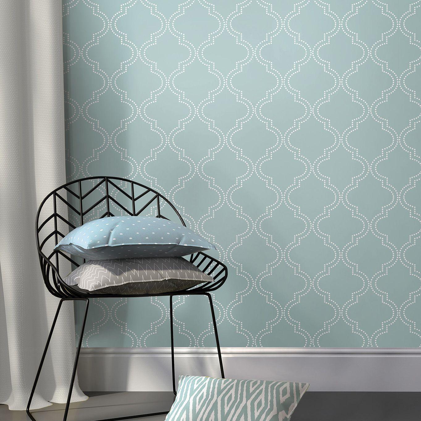 Wallpops Quatrefoil Blue L Stick Wallpaper 5500mm W 520mm Departments Diy At B Q