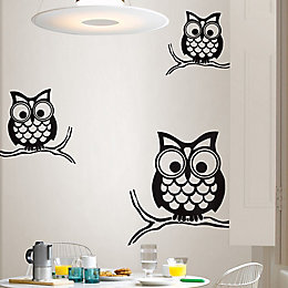 Wallpops Give A Hoot Black Self Adhesive Wall
