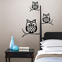 Wallpops Give a hoot Black Self adhesive Wall sticker (H)740mm (W)740mm