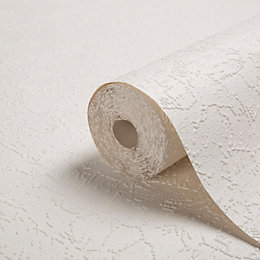 B&Q White Bark Paintable Wallpaper