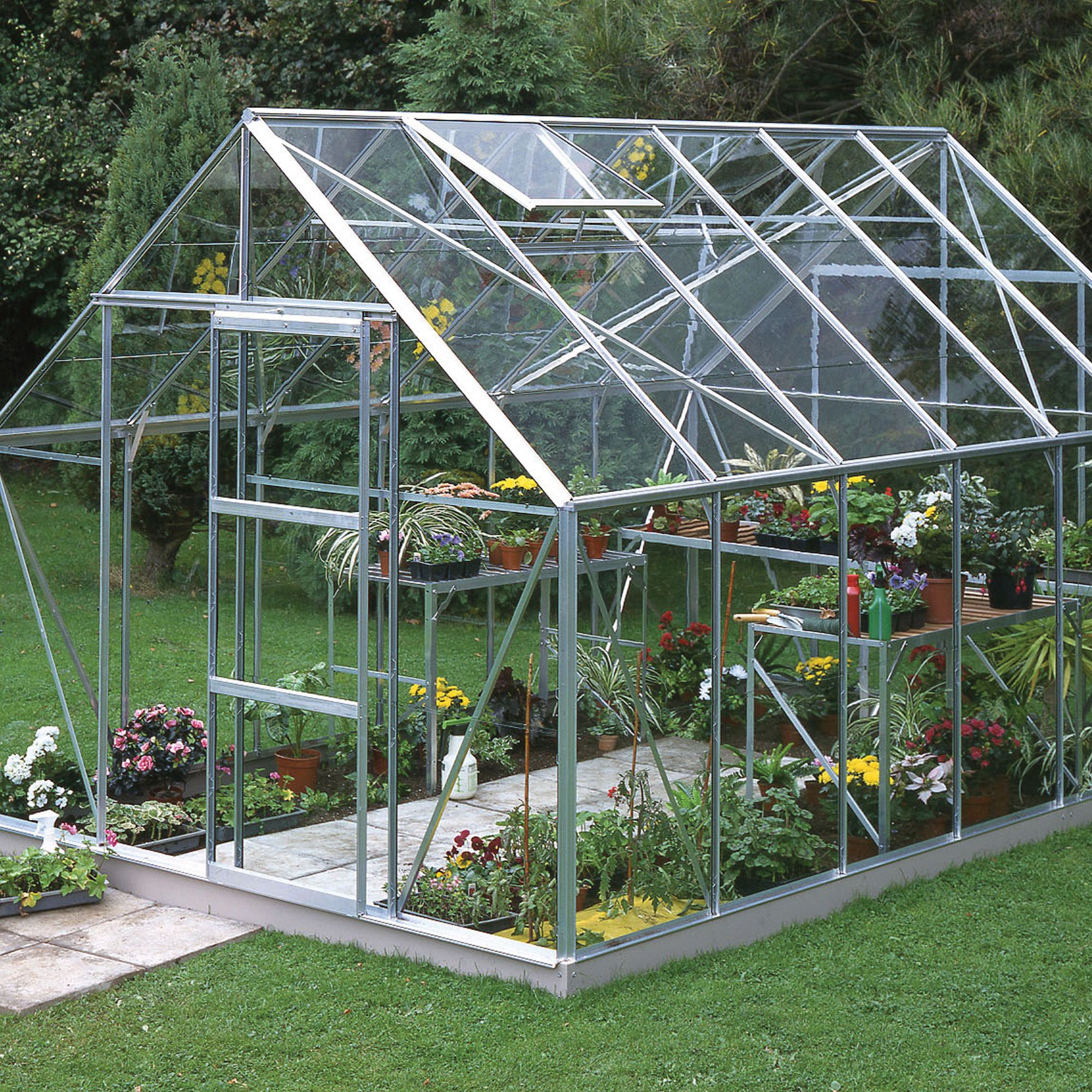 B Amp Q Premier Metal 6x4 Toughened Safety Glass Greenhouse