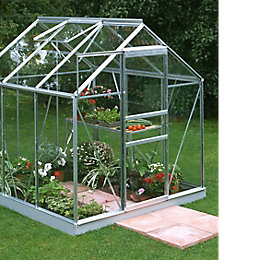 B&Q Premier Metal 6X6 Toughened Safety Glass Greenhouse