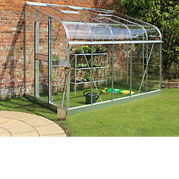 B&Q Metal 10X6 Toughened Safety Glass Lean-To Greenhouse