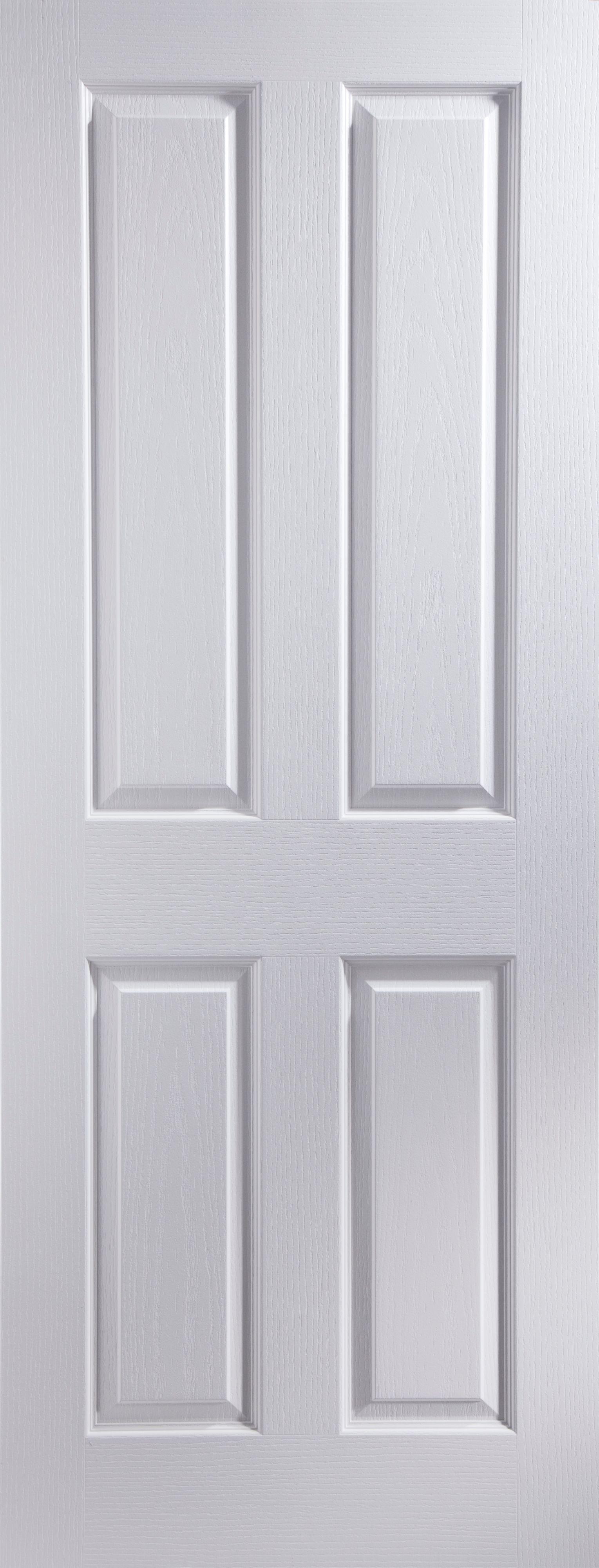 4 Panel Primed White Woodgrain Internal Door H1981mm W610mm Departments Diy At Bq
