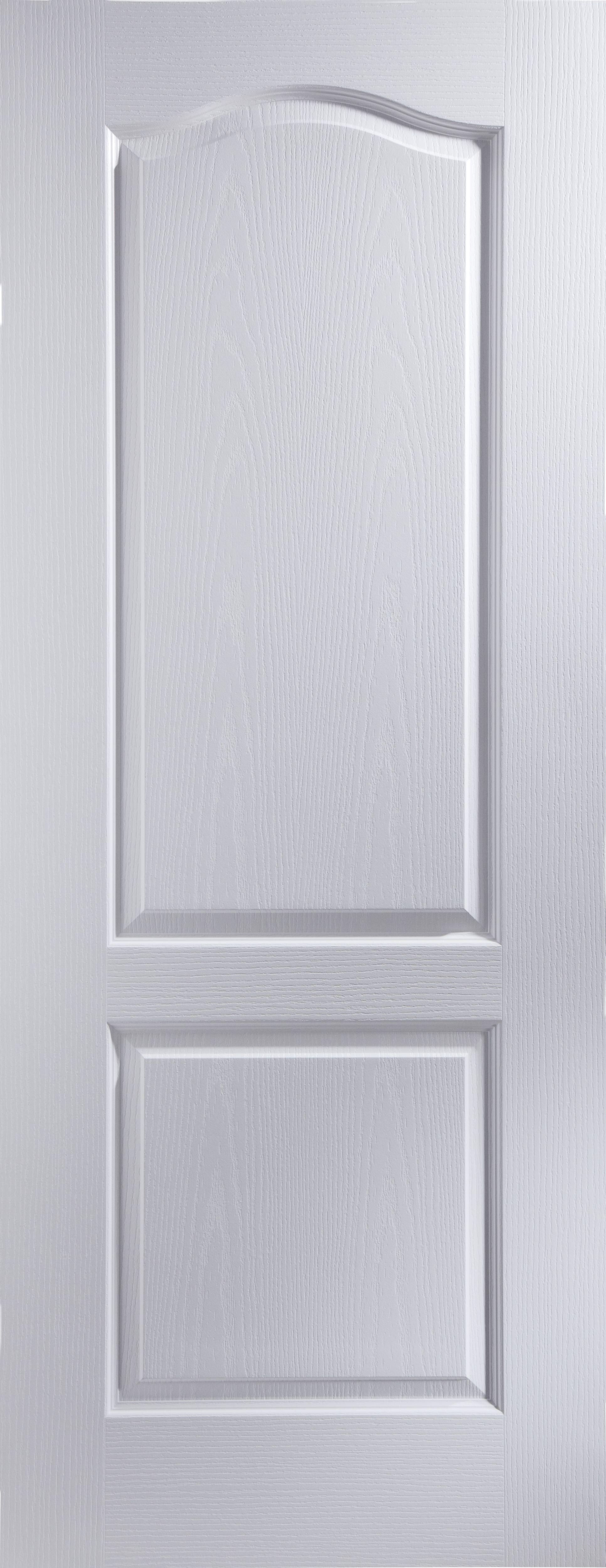 2 Panel Arched Primed Woodgrain Unglazed Internal Standard Door H