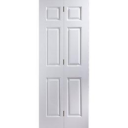 6 Panel Primed Woodgrain effect Unglazed Internal Bi-fold