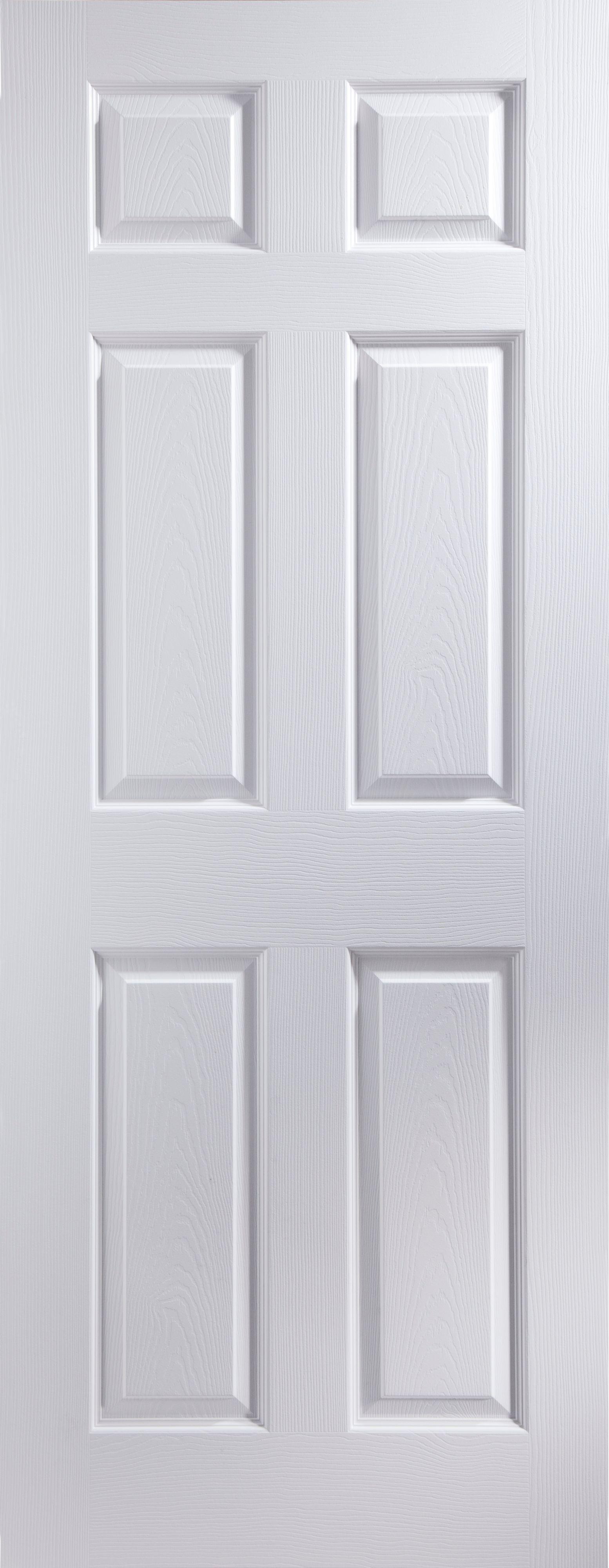 6 Panel Primed Woodgrain Effect Unglazed Internal Standard Door H