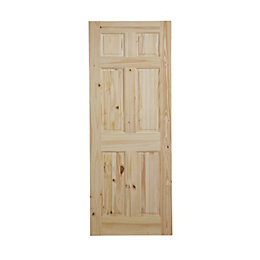 6 Panel Knotty pine Internal Standard Door, (H)1981mm