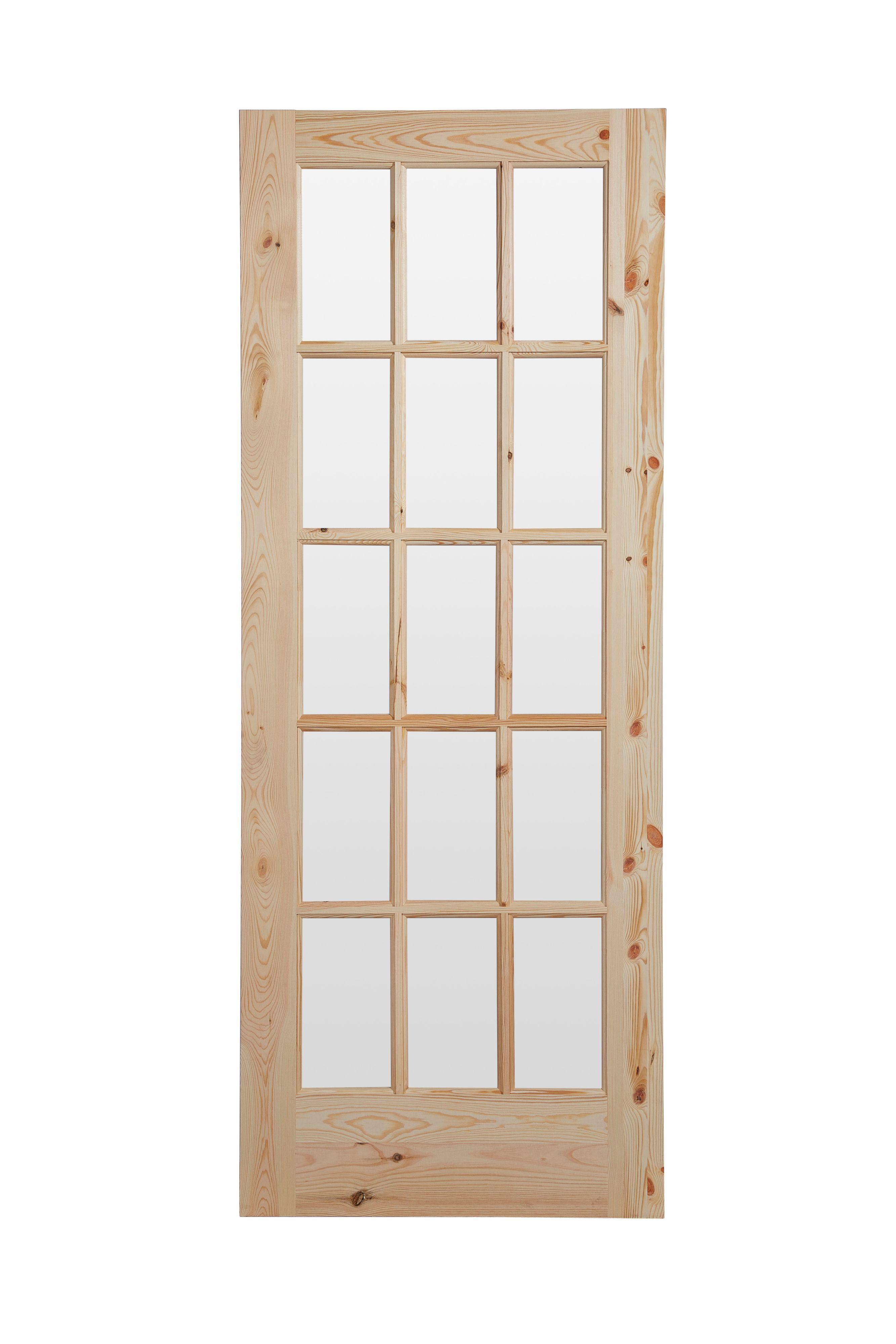 Fully Glazed 15 Lite Knotty Pine Internal Standard Door H1981mm