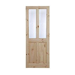 4 Panel Knotty Pine Glazed Internal Standard Door,