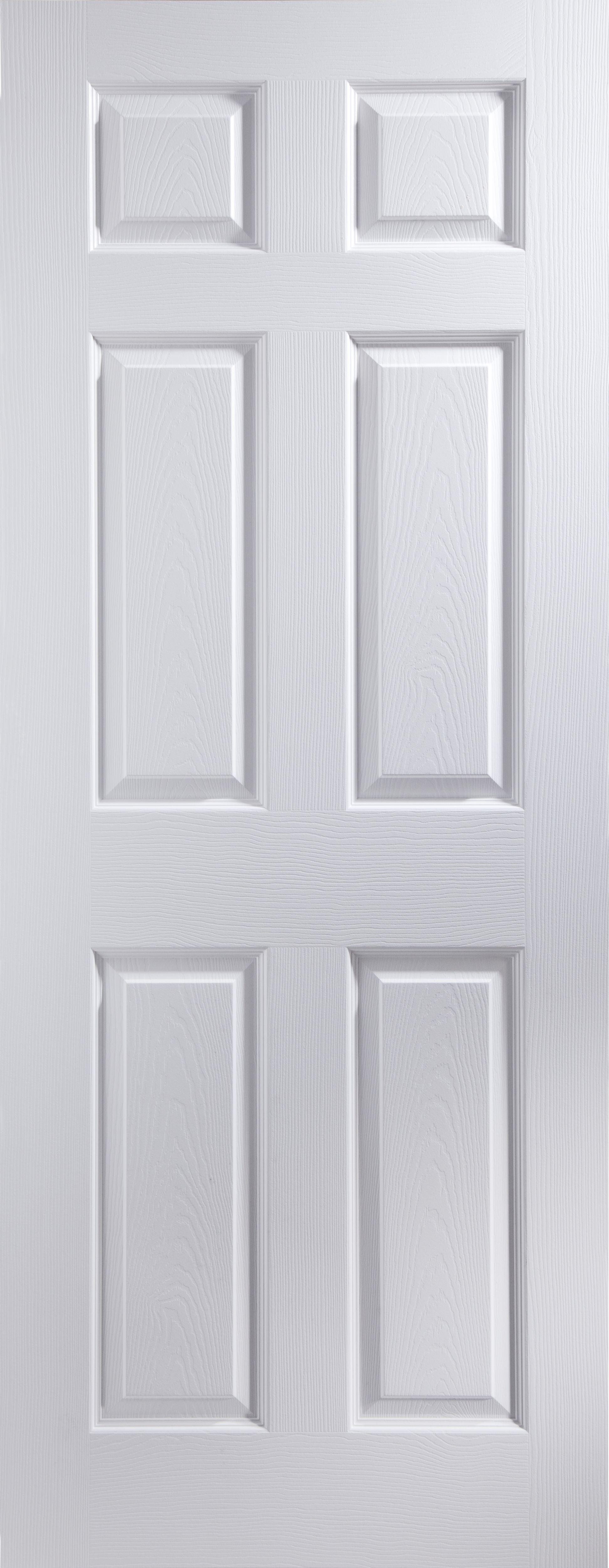6 Panel PrePainted White Unglazed Internal Standard Door H