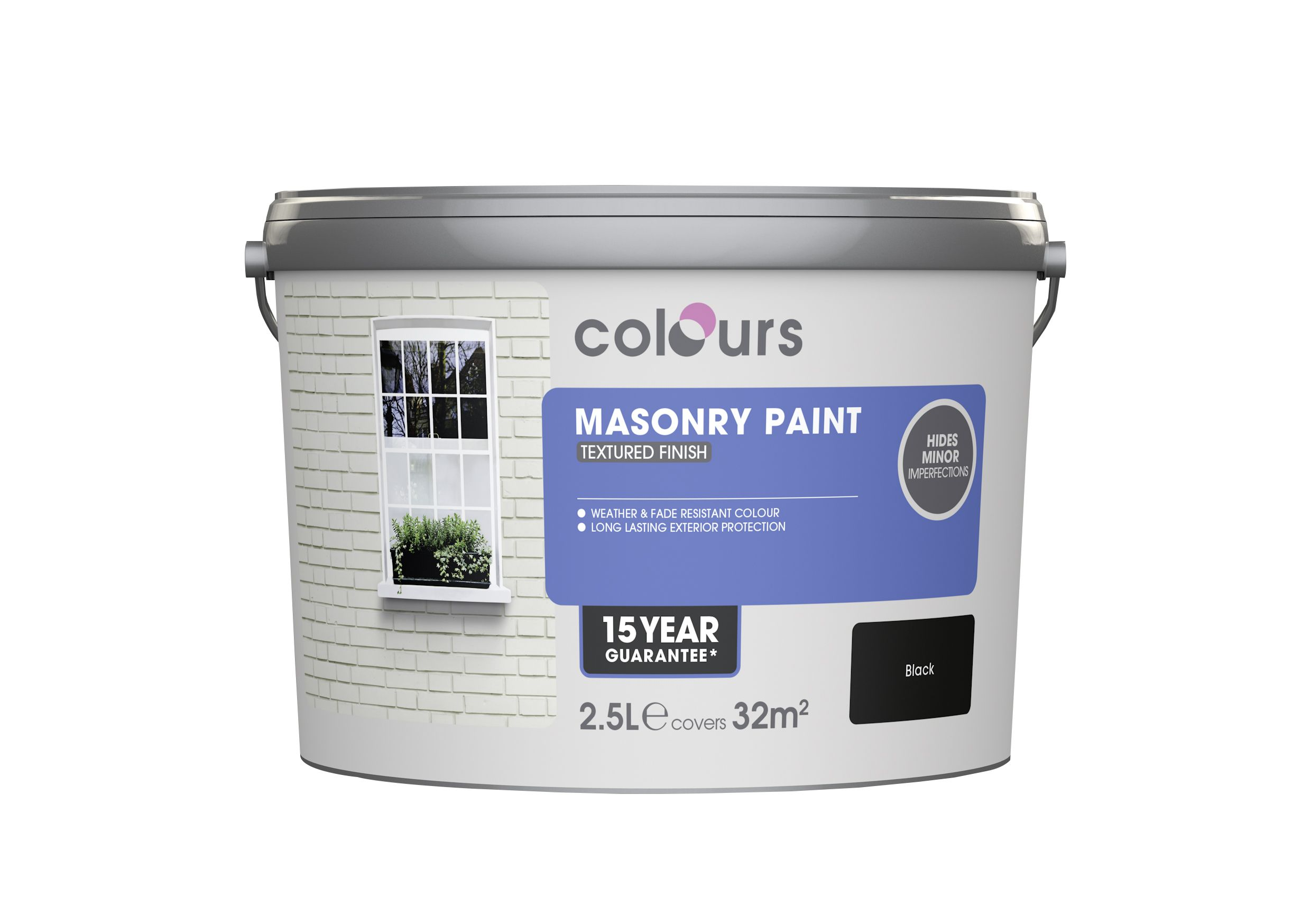 Colours Black Textured Matt Masonry Paint 2 5l Departments Diy At B Q