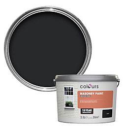 Colours Black Smooth Masonry paint 2.5L