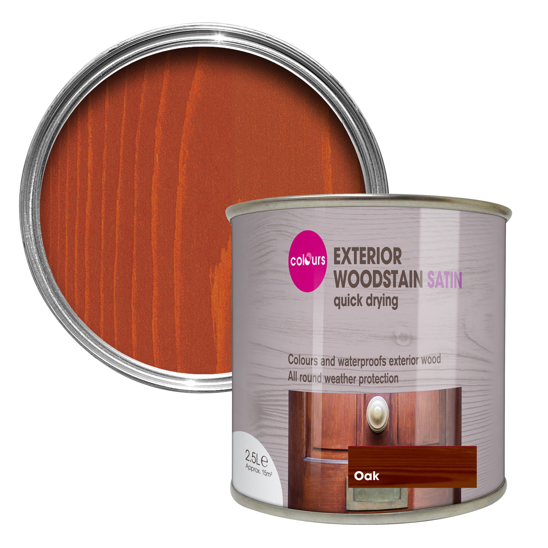 Colours Oak Satin Woodstain 2.5L | Departments | DIY At Bu0026Q.