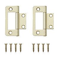 Brass effect Metal Flush hinge, Pack of 8