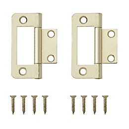 Brass Effect Metal Flush Hinge, Pack of 8