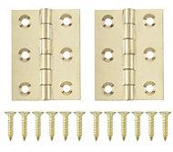 Brass effect Metal Butt hinge, Pack of 2