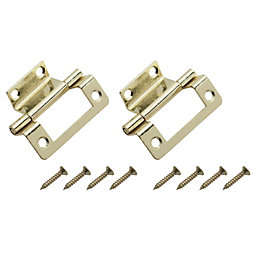 Brass Effect Metal Double Cranked Flush Hinge, Pack