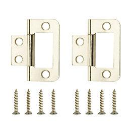 Brass Effect Metal Flush Hinge, Pack of 2