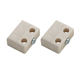 B&Q Magnolia Plastic Locking Joint (L)36mm, Pack of