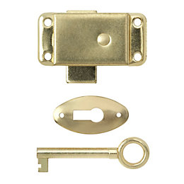 B&Q Brass-Plated Steel Wardrobe Lock (L)51mm