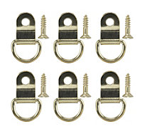 B&Q Brass effect Small Picture hook Pack of 6
