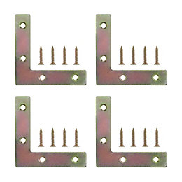 B&Q Steel Corner Plate, Pack of 4