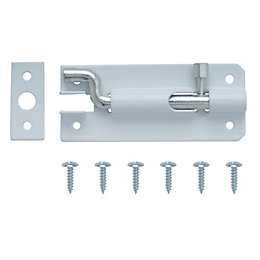 B&Q White Steel Barrel Bolt (L)76mm