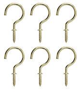 B&Q Brass Effect Metal Cup Hook, Pack of 6