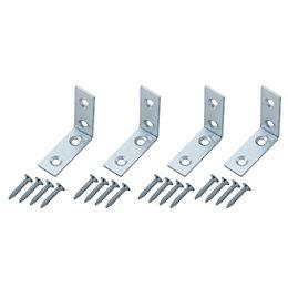 B&Q Silver Zinc Effect Mild Steel Corner Brace