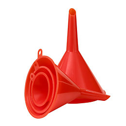B&Q Orange Plastic Funnel set
