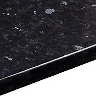38mm Ebony granite Black Gloss Stone effect Round edge Laminate Worktop (L)3m (D)600mm