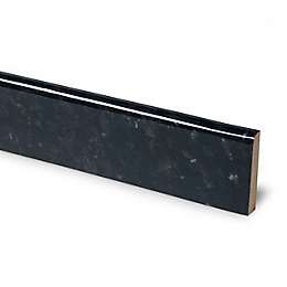 12mm Ebony Granite Black Laminate Upstand, Round Edge