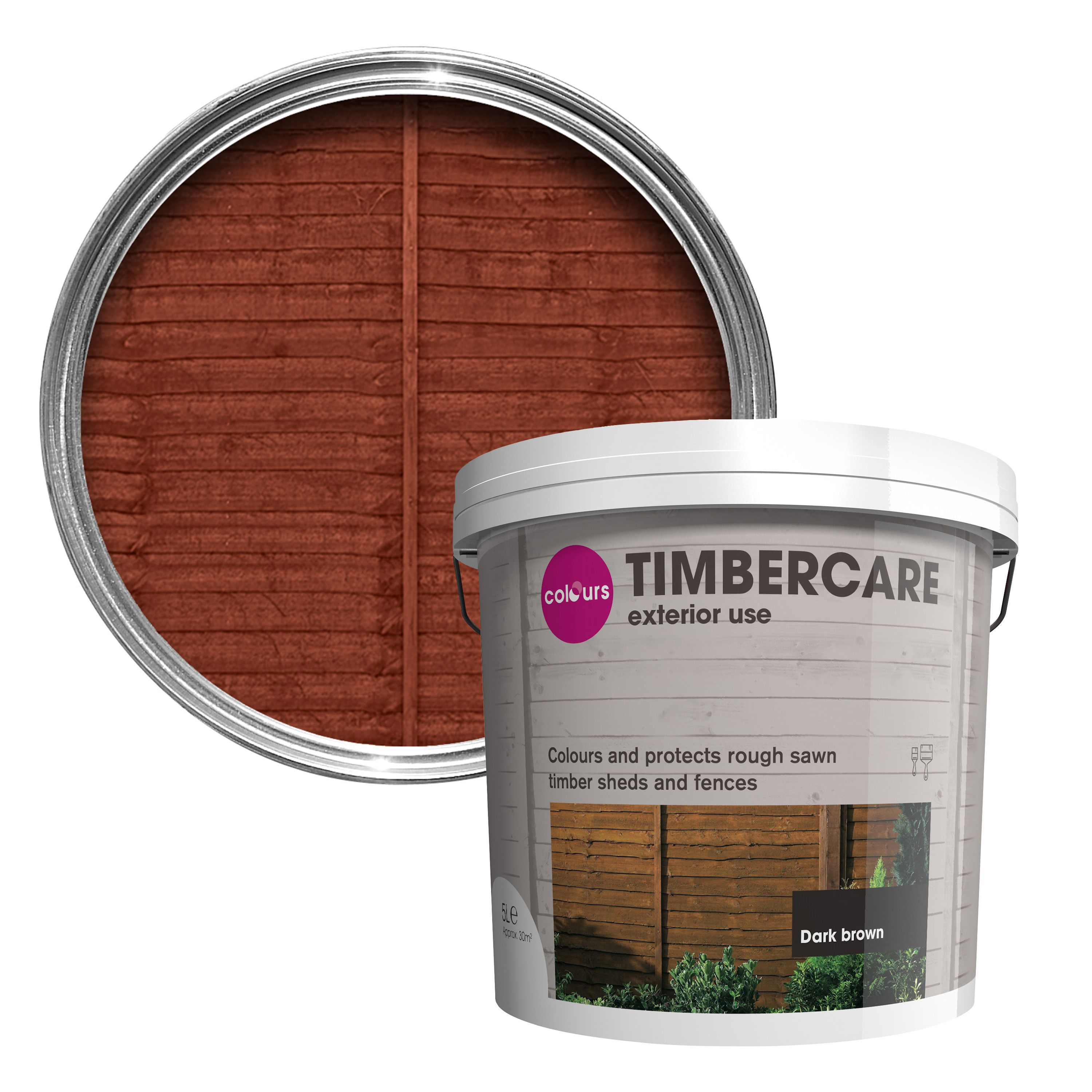 Colours Timbercare Dark Brown Shed Amp Fence Stain 5l