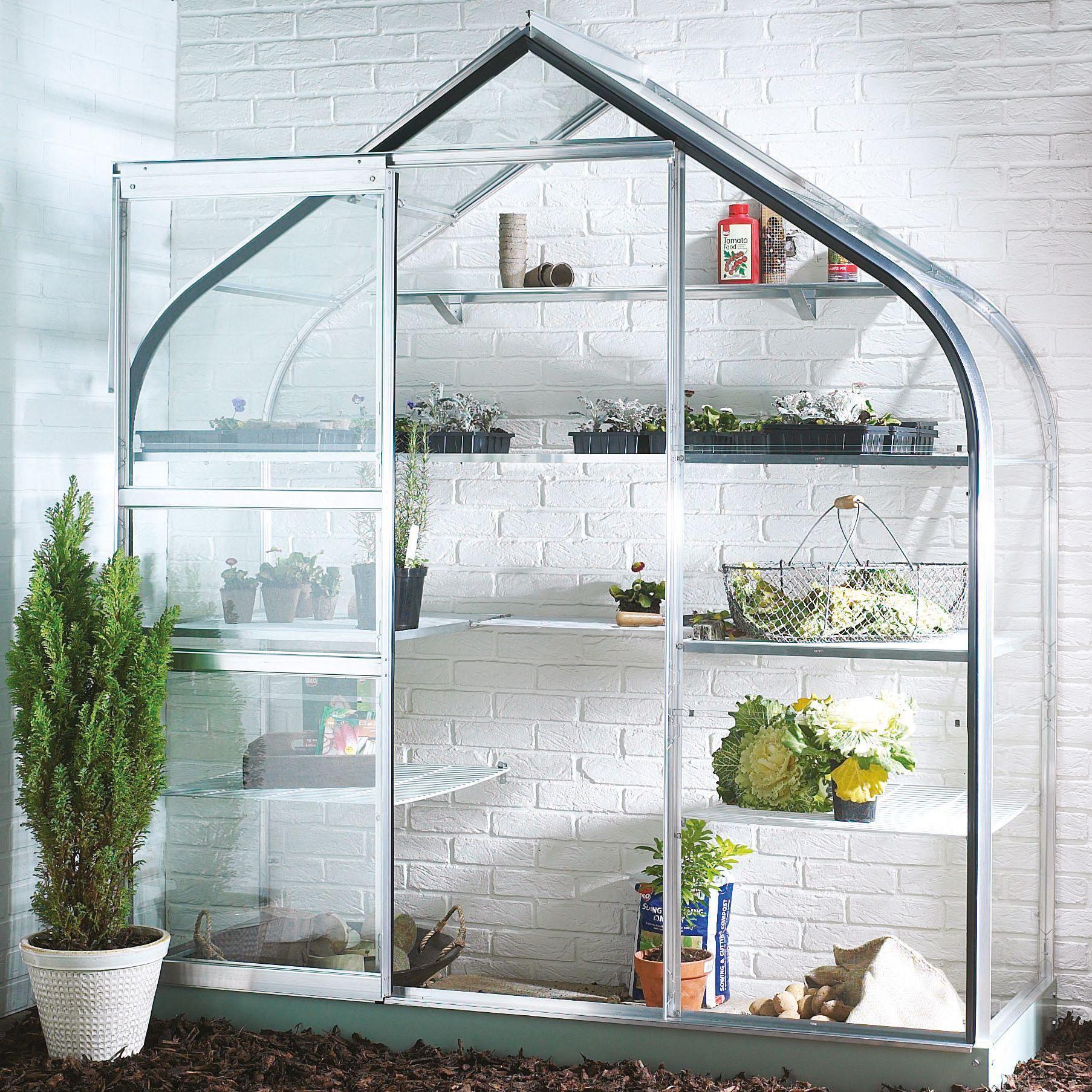B&Q Metal 6x2 Toughened safety glass wall garden