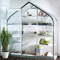 B&Q Metal 6x2 Toughened safety glass wall garden greenhouse